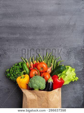 Healthy Eating Ingredients: Fresh Vegetables, Fruits And Superfood. Nutrition, Diet, Vegan Food Conc
