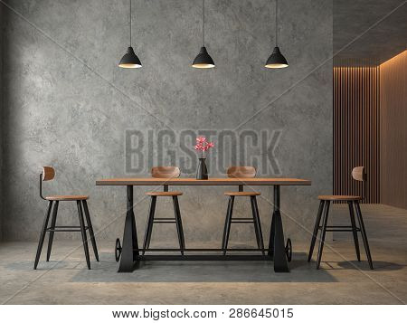 Loft Style Dining Room With Polished Cocrete 3d Render,furnished With Industrial Style Wood And Meta