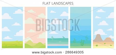 Soft Nature Landscapes. Desert With Mountains, Green Summer Field, Coast With Plants, Underwater Vie
