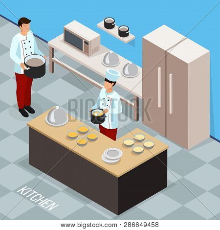 Profession Of Chef Isometric Composition With Cookery Staff During Food Preparing At Kitchen Vector
