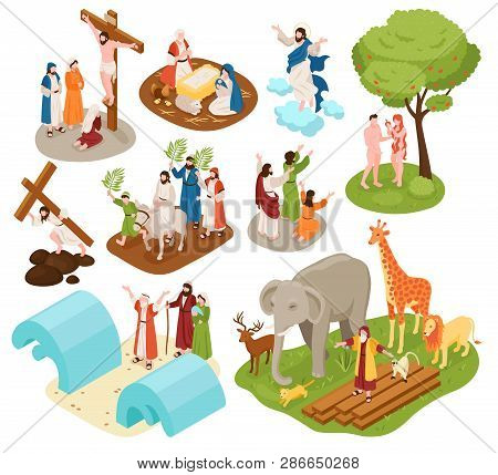 Isometric Bible Narratives Set With Ancient Christian Characters Of Noah With Animals Adam Eve Jesus