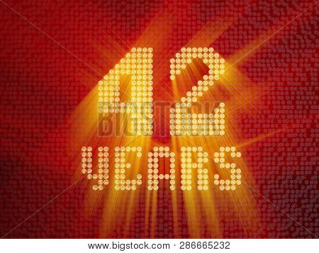 Golden Number Forty-two Years (number 42 Years) Dotted Font, Top View, With Light Rays. 3d Render