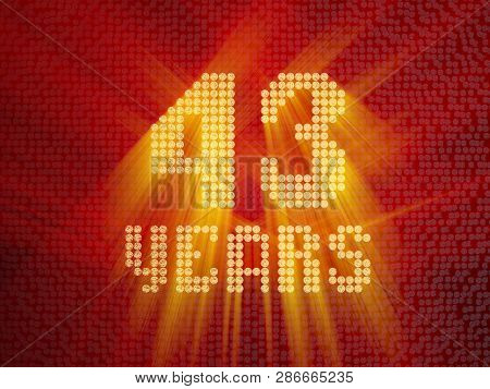 Golden Number Forty-three Years (number 43 Years) Dotted Font, Top View, With Light Rays. 3d Render
