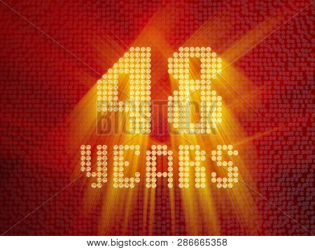 Golden Number Forty-eight Years (number 48 Years) Dotted Font, Top View, With Light Rays. 3d Render