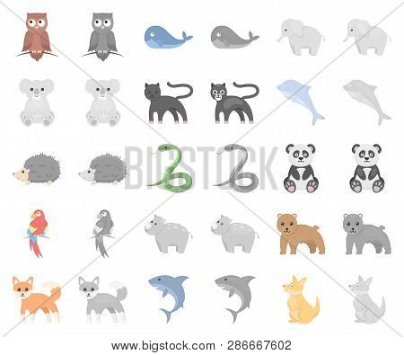 An Unrealistic Animal Cartoon, Monochrom Icons In Set Collection For Design. Toy Animals Vector Symb