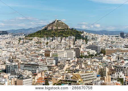 Athens, Greece - November 1, 2017: Cityscape Of Athens And Lycabettus Hill, Also Known As Lykabettos