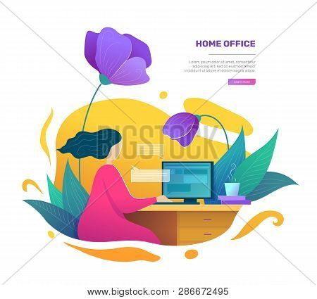 Modern Home Office Space Concept In Flat Style. Self Employed Woman Using Desktop Computer. Business