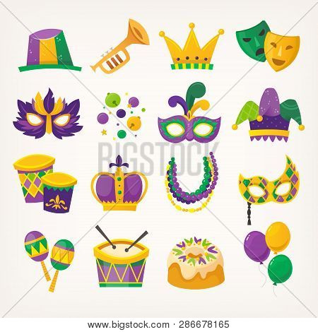 Set Of Colorful Attributes For Celebrating Mardi Gras - Traditional Spring Holiday And Carnival Para