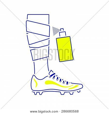Icon Of Football Bandaged Leg With Aerosol Anesthetic. Thin Line Design. Vector Illustration.