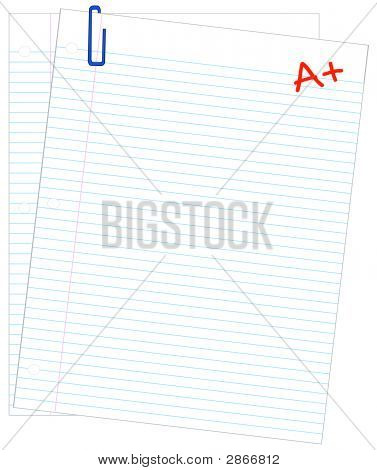 Lined Paper Two W Paper Clip A Plus