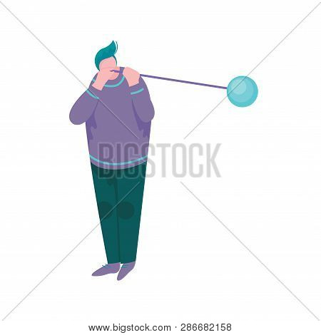 Overweight Man Blowing Glass Vessel, Male Glassblower Or Glassworker Character, Hobby Or Profession