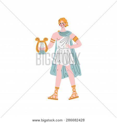 Apollo Olympian Greek God, Ancient Greece Mythology Hero Vector Illustration