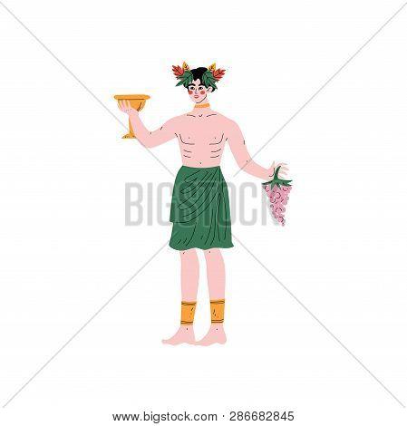 Dionysus Olympian Greek God, Ancient Greece Mythology Hero Vector Illustration