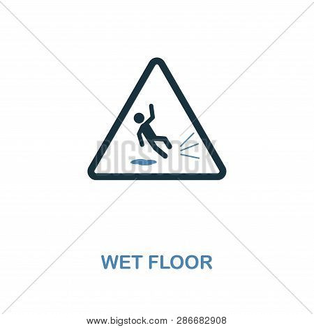 Wet Floor Icon. Monochrome Style Design From Shopping Center Sign Icon Collection. Ui. Pixel Perfect