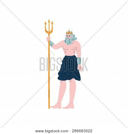 Poseidon Olympian Greek God, Ancient Greece Mythology Hero Vector Illustration