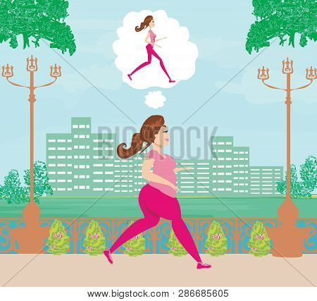 Young Woman Jogging,fat Girl Dreams To Be A Skinny Girl , Vector Illustration