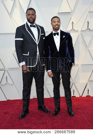 Winston Duke and Michael B. Jordan at the 91st Annual Academy Awards held at the Hollywood and Highland in Los Angeles, USA on February 24, 2019.
