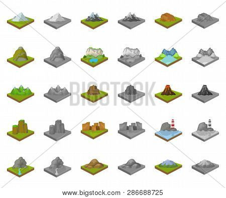 Mountains, Massive Cartoon, Monochrom Icons In Set Collection For Design. The Surface Of The Earth V