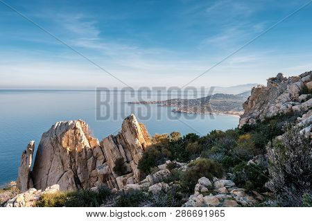 Coast Of Corsica Viewed From Rocky Outcrop