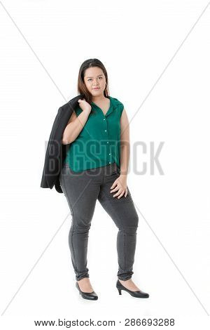 Full Length Front View Of Young, Plump, Beautiful, Asian Lady, In Smart Casual, Green Shirt, Black P