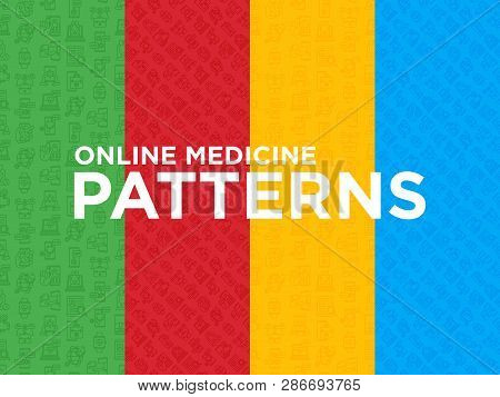 Four Different Online Medicine Seamless Patterns With Thin Line Icons: Pill Timer, Ambulance Online,