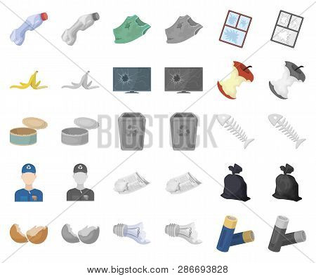 Garbage And Waste Cartoon, Monochrom Icons In Set Collection For Design. Cleaning Garbage Vector Sym