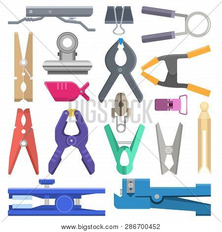 Clothespin Vector Clothespeg Clothes-pin And Office Clamp Clip Holding Tool Pin For Laundry Illustra