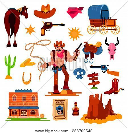 Wild West Vector Western Cowboy Character In Wildlife Desert With Cactus Illustration Wildly Sheriff