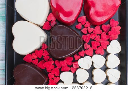 Valentines Day, Love, Wedding, Celebration, Gift Concept, Red Brown White Different Many Size Heart