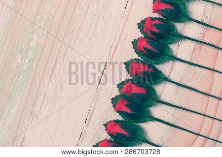 Valentine Love Heart Orderly Row Of Rose On Wood