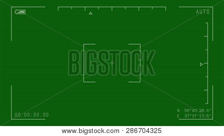Night Camera Military Viewfinder Overlay. Night Green Camera Template. Camera Frame Vector Template