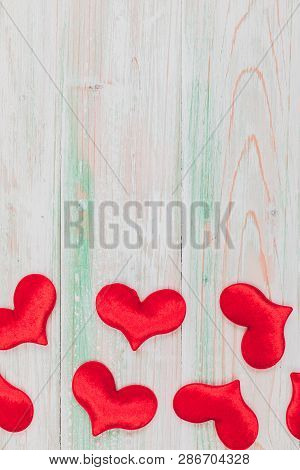 Valentine Love Heart Card Gift On Wooden