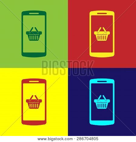 Color Shopping Basket On Screen Smartphone Icon Isolated On Color Backgrounds. Concept E-commerce, E