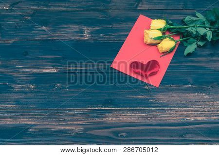 Valentine Love Card Fresh Rose And Heart On Wooden