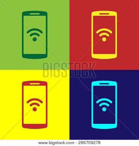 Color Smartphone With Free Wi-fi Wireless Connection Icon On Color Backgrounds. Wireless Technology,