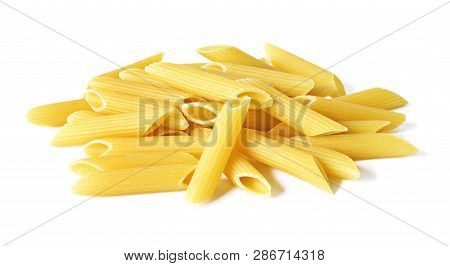 Delicious Pasta Or Penne Noodles, Isolated On White Background. Top View Scene, Healthy Eating Or He