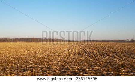 flat vast open unplowed brown dirt farm land field under a clear blue sky in winter poster
