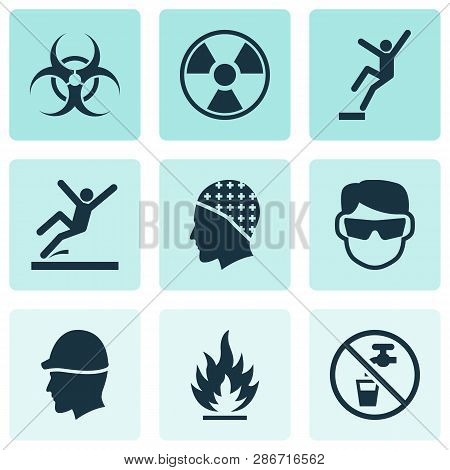 Sign Icons Set With Non Potable Water, Slippery Area, Radioactive And Other Drinkable Elements. Isol