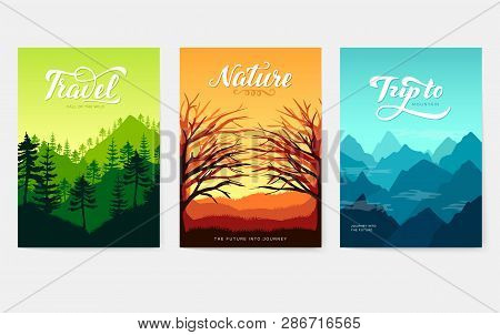 Nature Vector Brochure Cards Set. Ecology Template Of Flyer, Magazines, Poster, Book Cover, Banners.