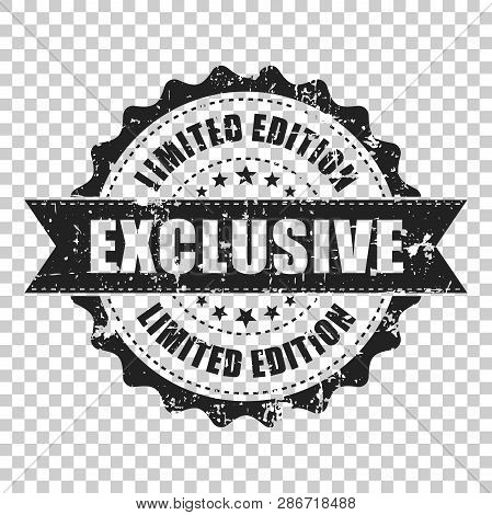 Exclusive Scratch Grunge Rubber Stamp. Vector Illustration On Isolated Transparent Background. Busin