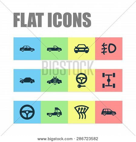 Automobile Icons Set With Crossover, Foglight, Pickup And Other Drive Control Elements. Isolated Vec