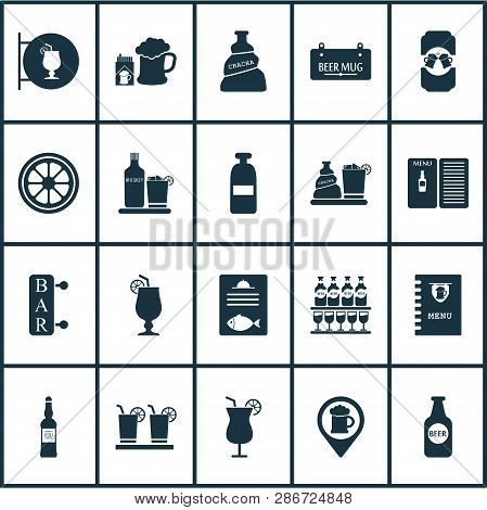 Alcohol Icons Set With Liqueur, Vodka, Cocktail And Other Whiskey Elements. Isolated Vector Illustra
