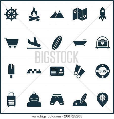 Journey Icons Set With Lifebuoy, The Mountains, Flippers And Other Guide Elements. Isolated  Illustr