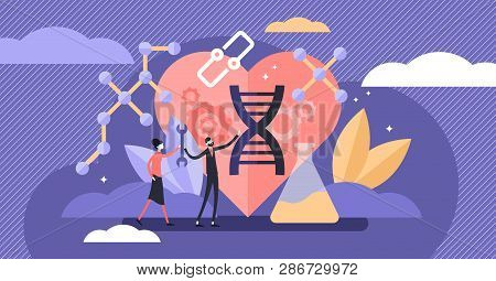 Biohacking Vector Illustration. Flat Tiny Self Improvement Persons Concept. Biological Health Engine