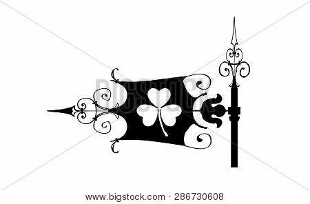 Weathervane On St. Patrick Day, Icon. Wind-vane Silhouette Black With Clover Irish. Shamrock Spring