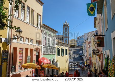 The Historic District Of Pelourinho In Salvador On Brazil
