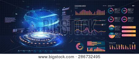 Hologram Of The Car, Scanning. Abstract Virtual Graphic Touch User Interface. Car Service In The Sty