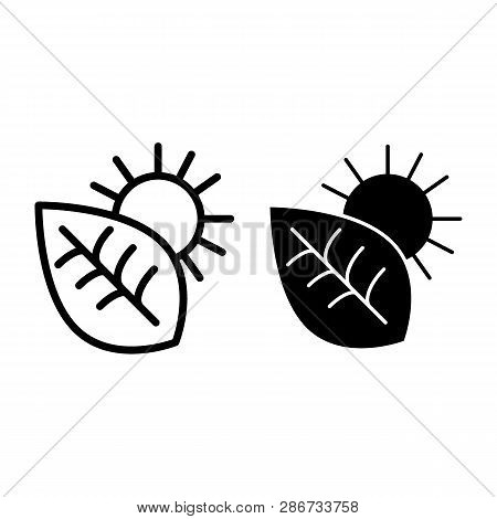 Photosynthesis Line And Glyph Icon. Environment Vector Illustration Isolated On White. Leaf And Sun