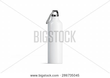 Blank White Metal Sport Bottle Mockup, Isolated, Front View,3d Rendering. Empty Aluminum Can With Cl