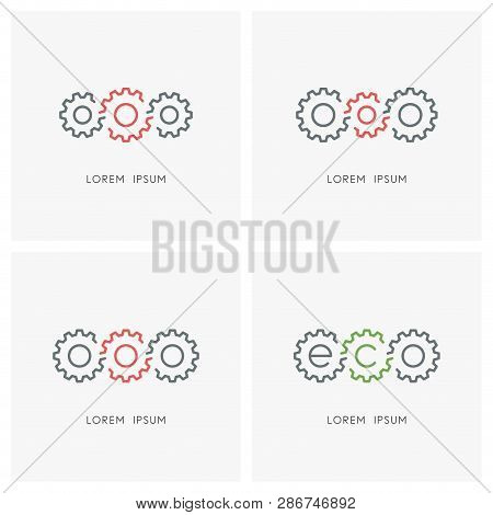 Gear Wheel Logo Set. Pinions And Toothing Symbol - Mechanics And Mechanical Engineering, Industry An